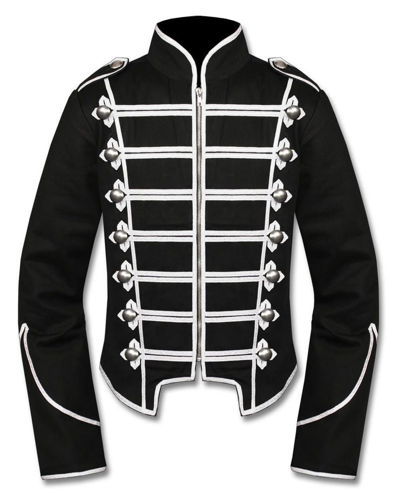 Hand Made Steampunk Emo Punk Goth MCR Military Drummer Parade Jacket 100/% Wool