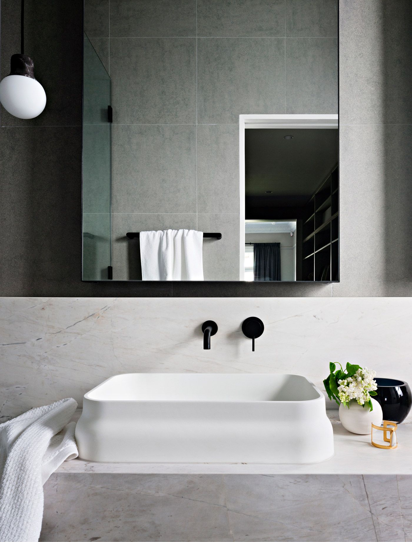 Tags rustic bathroom natural minimal monochrome - Modern Bathroom Minimal Bathroom Black And White Bathroom Marble Vanity Black Faucet