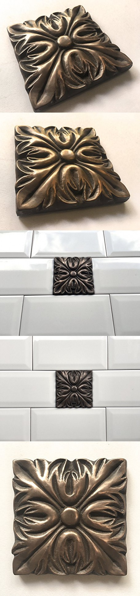 Decorative Tile Accent Pieces Bronze Metallic 4X4 Resin Decorative Insert Accent Piece Tile