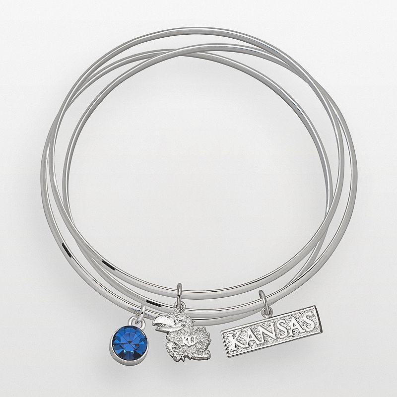 3cb121271a9 Kansas Jayhawks Silver Tone Crystal Logo Charm Bangle Bracelet Set,  Women's, Blue