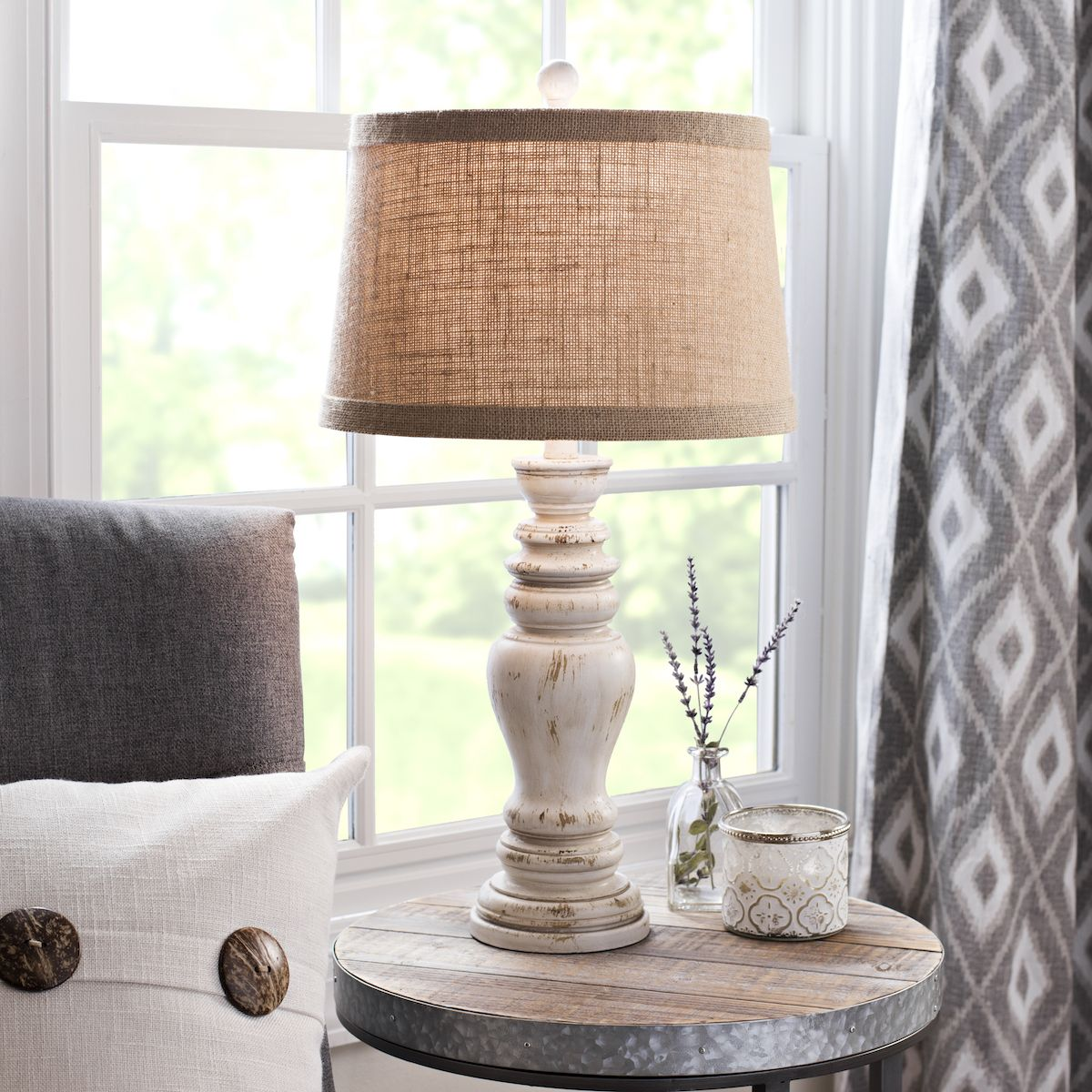 Distressed Farmhouse Living Room: Product Details Rustic Distressed Cream Table Lamp