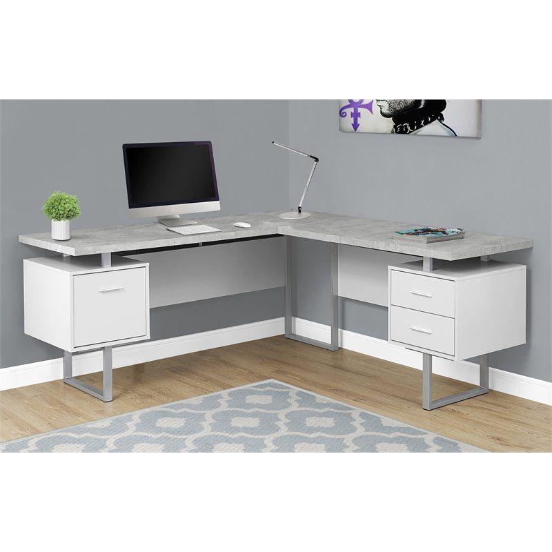 Monarch L Shaped Corner Computer Desk In White And Gray Cement L