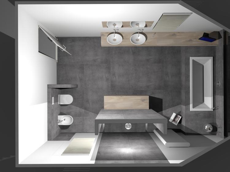 De eerste kamer strakke badkamer met stijlvolle waskommen op