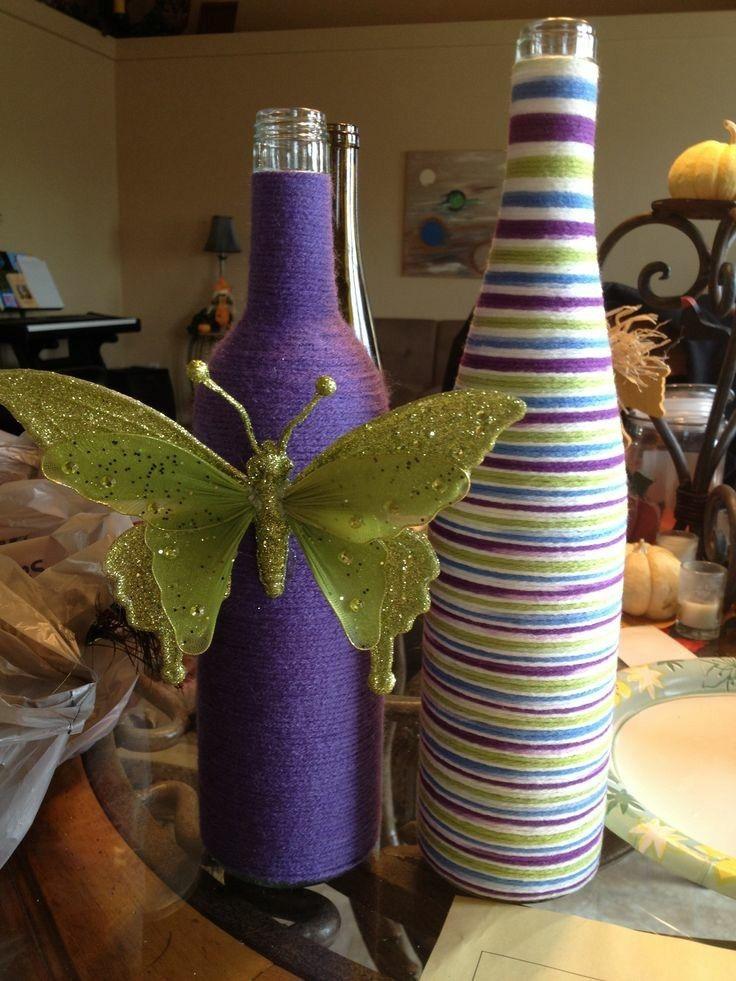Bonitas botellas cuerda morada decorscion pinterest - Decoracion con botellas ...