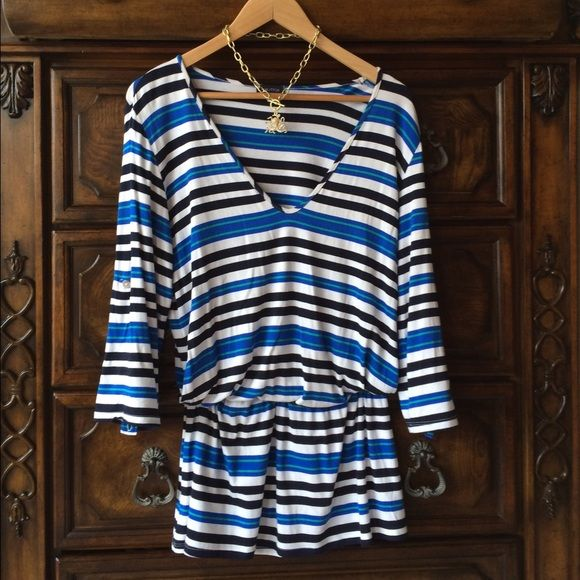 Adorable dress from Nautica! Nwot small Shades of blue striped adorable dress from Nautica size small! Could be worn as a long tunic with leggings, or alone as a day dress or even beach cover-up. Sleeves can be buttoned up or worn long super cute on! Elastic waist Nautica Dresses Mini