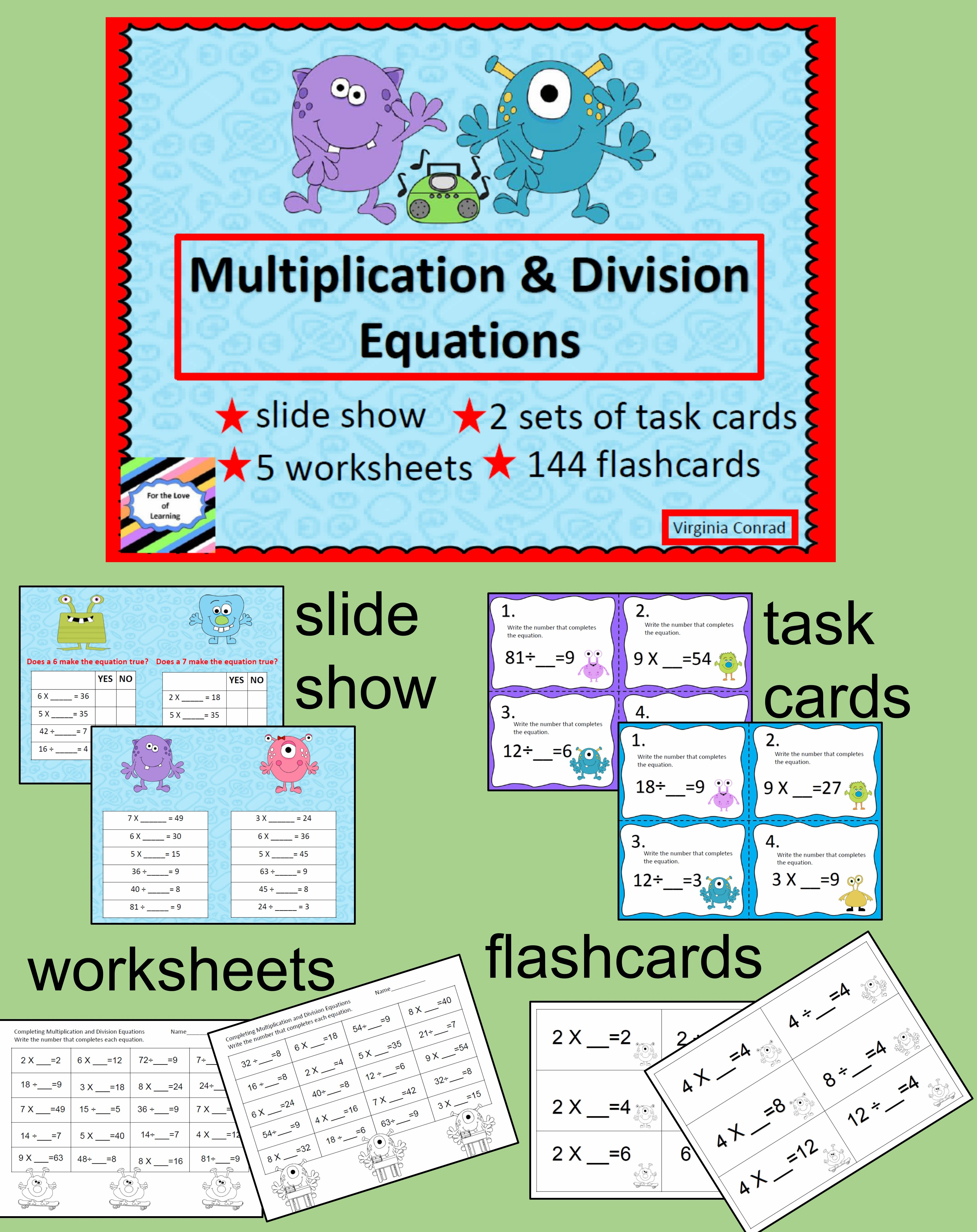 Multiplication And Division Equations Monster Style