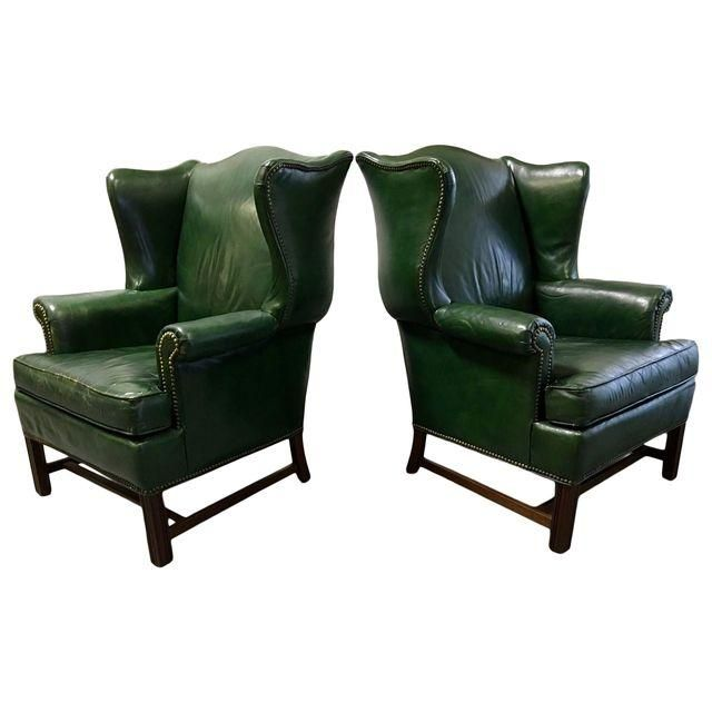 Awesome Vintage Green Leather Wingback Chairs A Pair Room Ideas Camellatalisay Diy Chair Ideas Camellatalisaycom