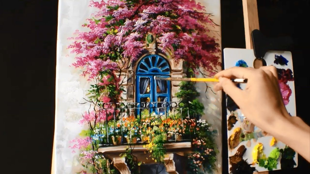 How to paint a balcony with bougainvillea acrylic lessons how to paint a balcony with bougainvillea acrylic lessons youtube reviewsmspy
