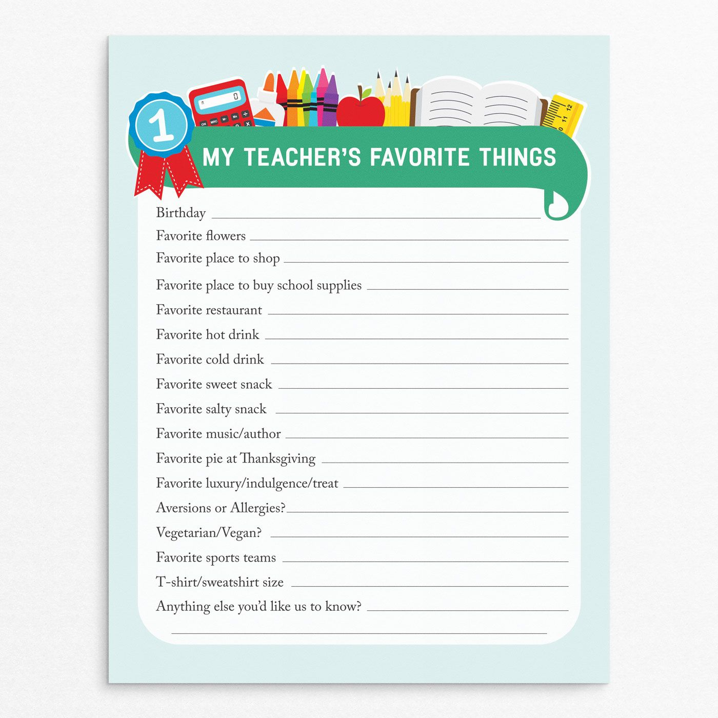 Teacher Favorite Things: Printable Questionnaire for Teacher ...