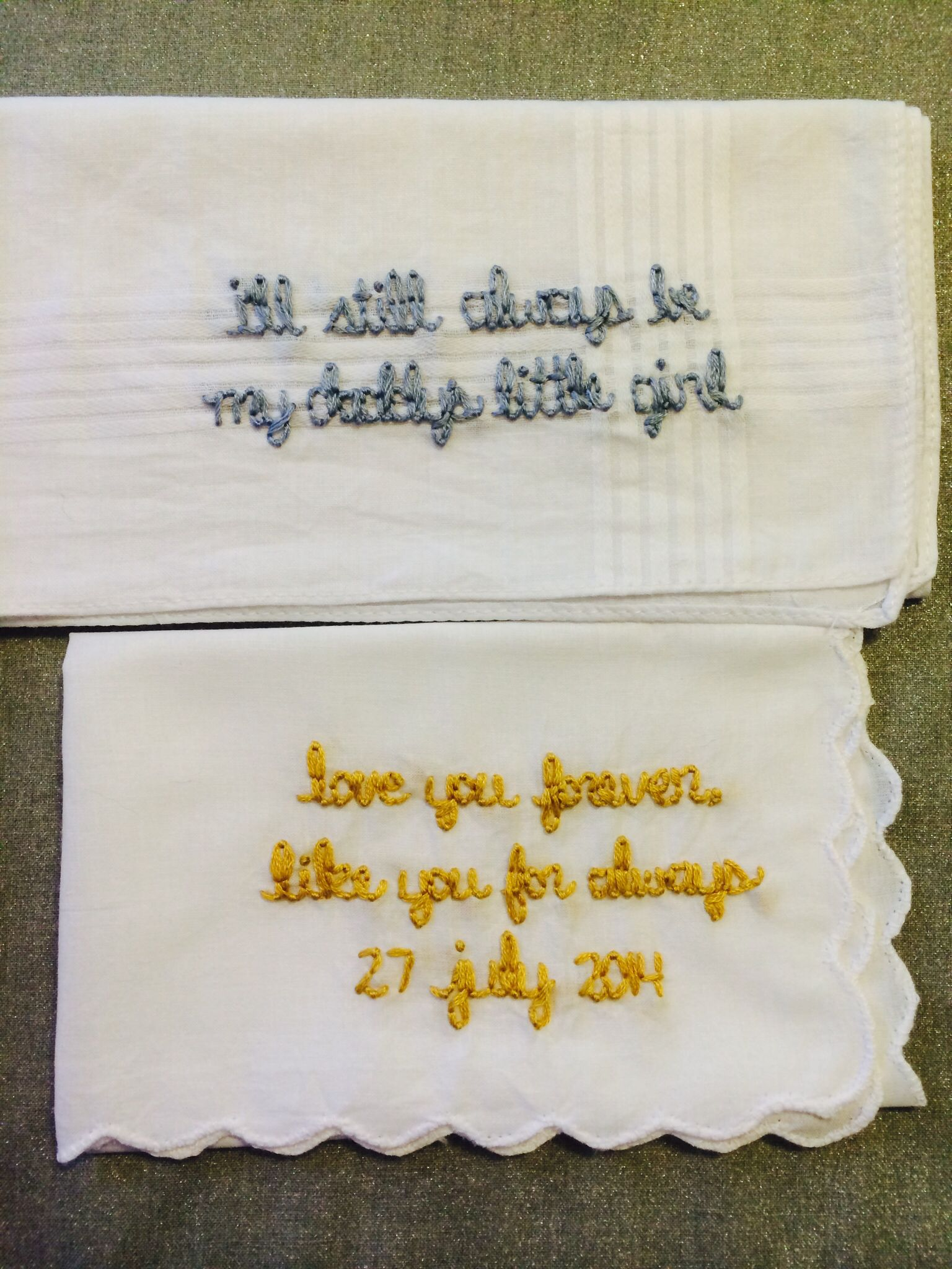 Hand embroidered messages. Wedding gift handkerchiefs by wrenbirdarts  http://wrenbirdarts.com