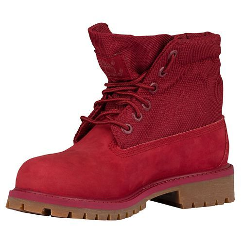 RED TIMBERLAND ROLL TOP BOOTS - BOYS