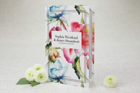 Half-fold Wedding Programs - Floral Watercolor | MagnetStreet