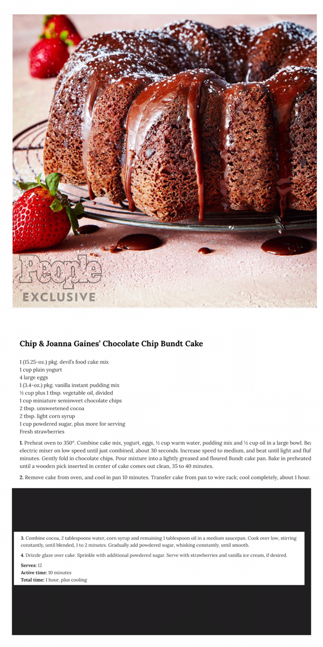 Fixer Upper S Chip And Joanna Gaines Chocolate Bundt Cake Recipe