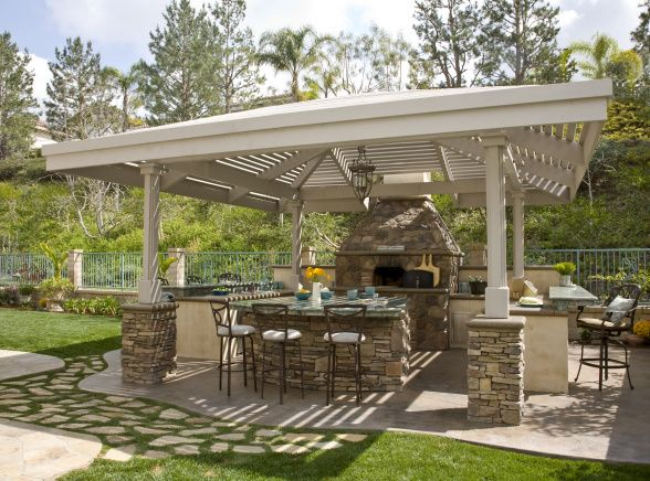 This outdoor kitchen has nice shading under the pergola and would ...