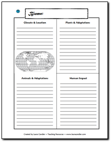 free note taking page for studying biomes students can complete one page for each assigned. Black Bedroom Furniture Sets. Home Design Ideas