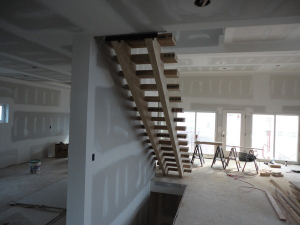 Double Stringer Timber Stairs, Open Tread.