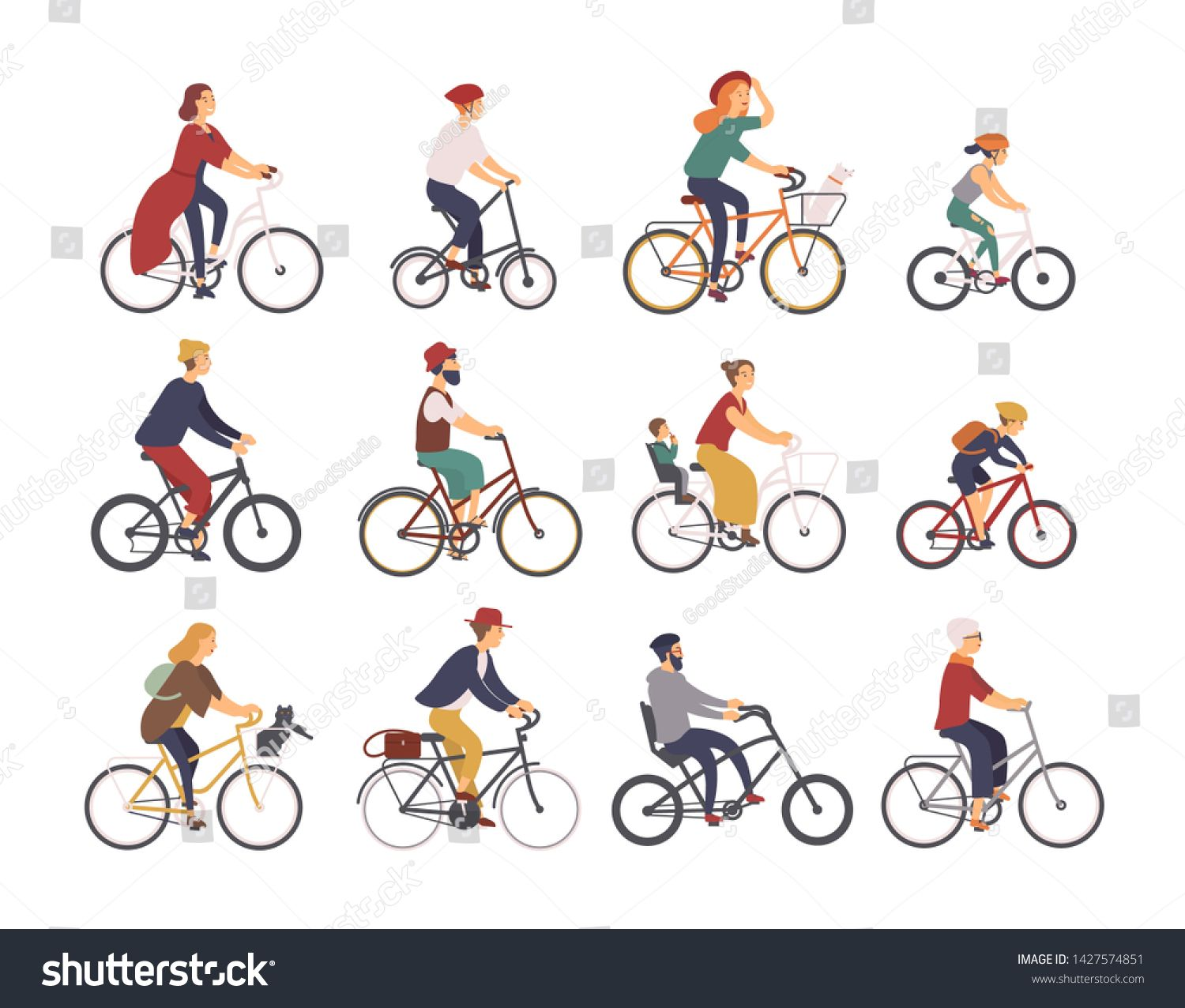 Collection Of People Riding Bicycles Of Various Types City Bmx