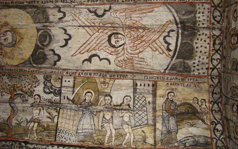 The wooden church from Călinești Căeni – The temptation of the snake;  Izgo …