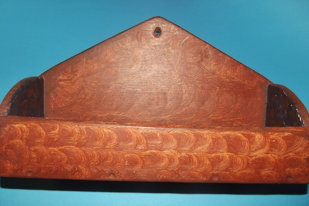 ANTIQUE PRIMITIVE WOODEN WALL HANGING CANDLE STORAGE BOX SALMON PAINT ROSE HEAD