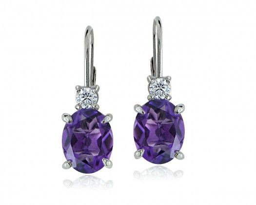 chicmarket.com - Sterling Silver Topaz and African Amethyst Leverback Earrings - White