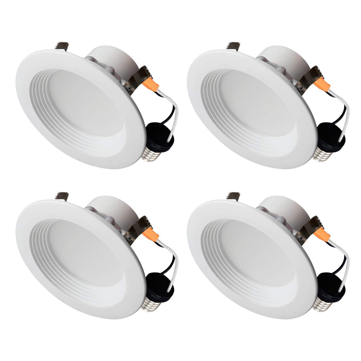 Ostwin 4 Pack 4 Inch Dimmable Round Led Baffle Downlight Recessed Retrofit Kit Lighting Fixture Le 2020 Ceiling Can Lights Can Lights Recessed Lighting