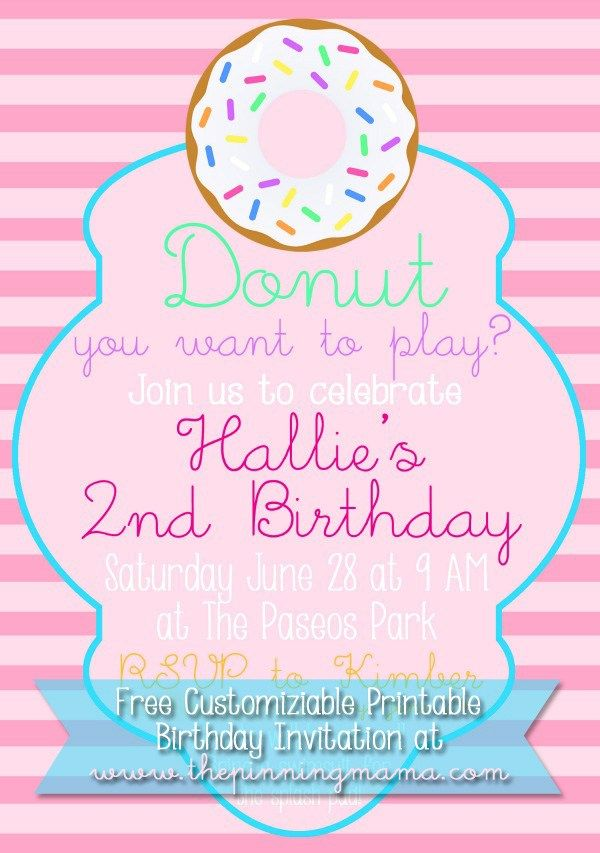 Free Customizable Donut Birthday Party Invitation - invitation free download