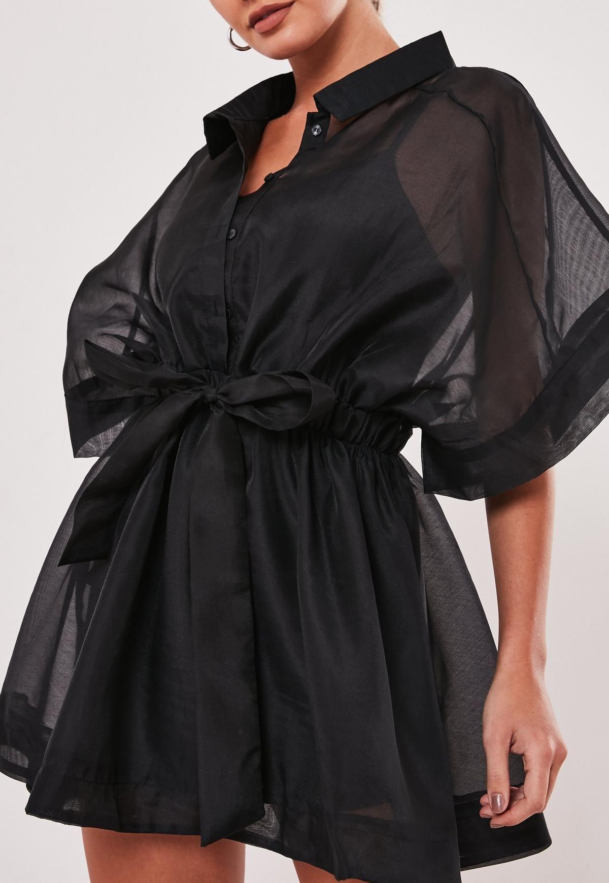 Black Organza Skater Shirt Dress