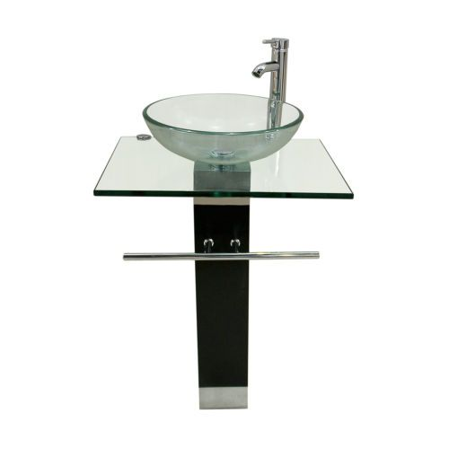 Modern Bathroom Pedestal Clear Tempered Glass Vessel Sink Vanity