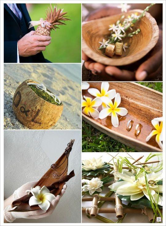 decoration mariage tropical porte alliances ananas bambou noix de coco
