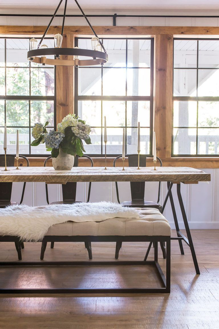 Gorgeous Wood And Metal Dining Table With Metal Chairs And