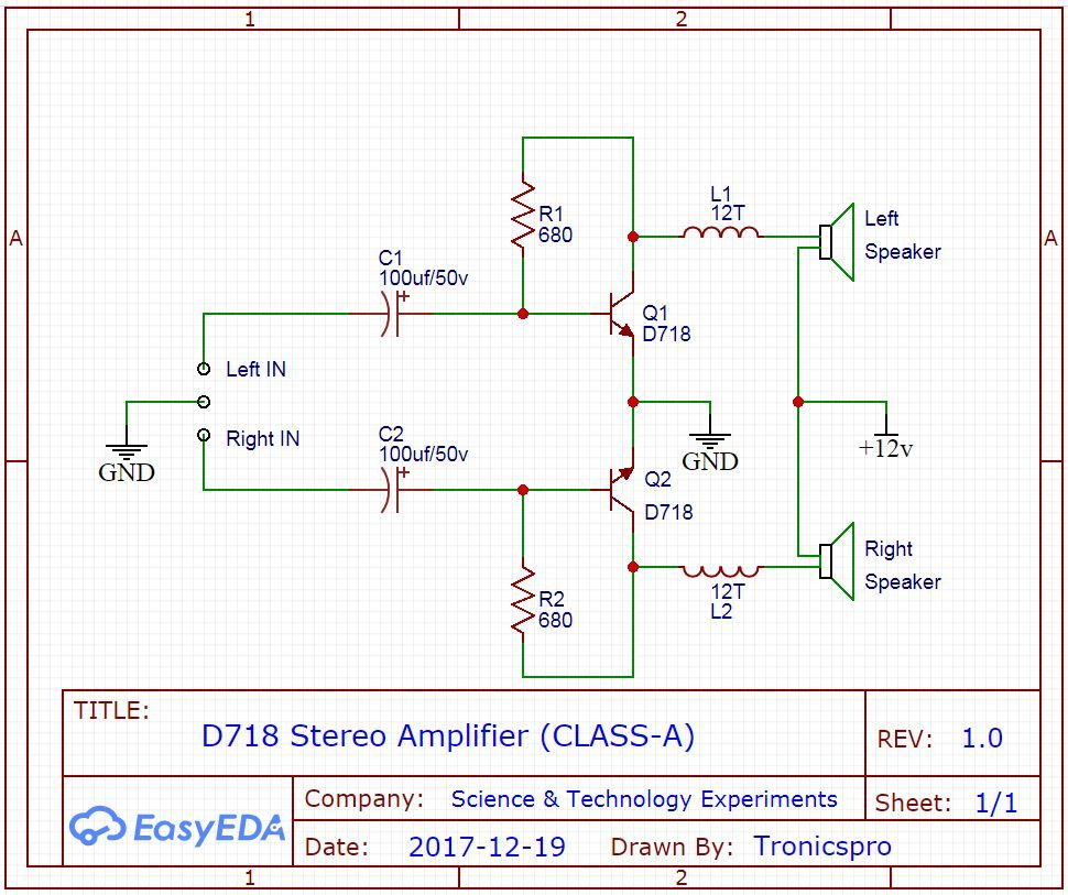 D718 B688 Amplifier Circuit Diagrams Tronicspro In 2020 Stereo Amplifier Amplifier Circuit Diagram
