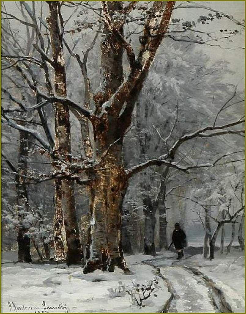 Paysage D Hiver En Peinture Anders Andersen Lundby 1841 1923