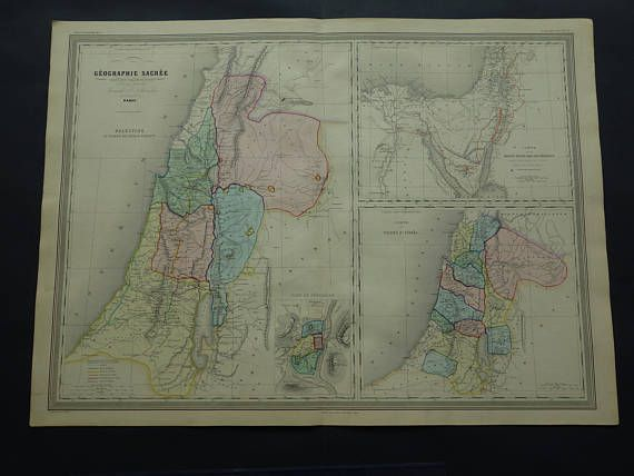 PALESTINE map LARGE 1866 handcolored antique old poster of