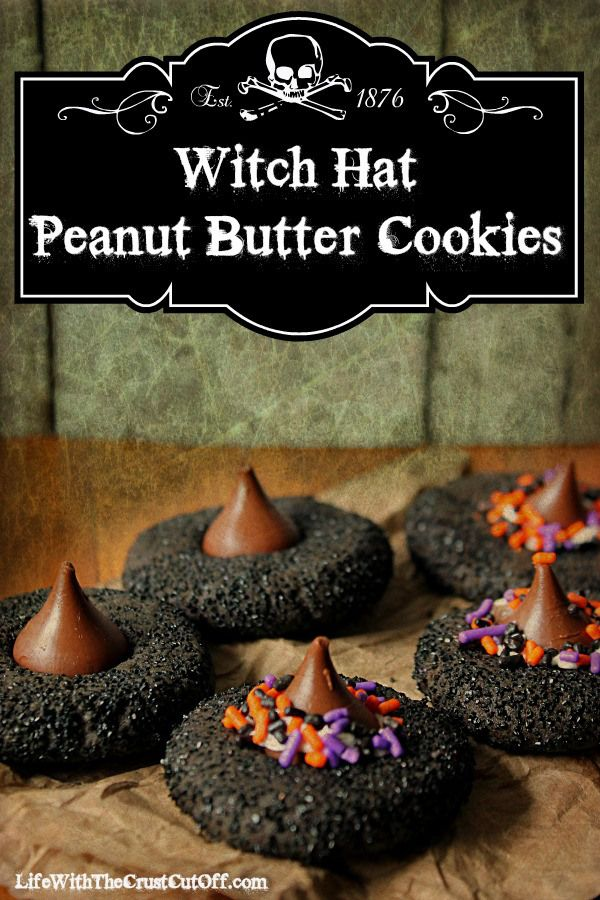 Witch Hat Peanut Butter Cookies #Halloween Turn everyone's favorite cookie into a spooky Halloween treat!