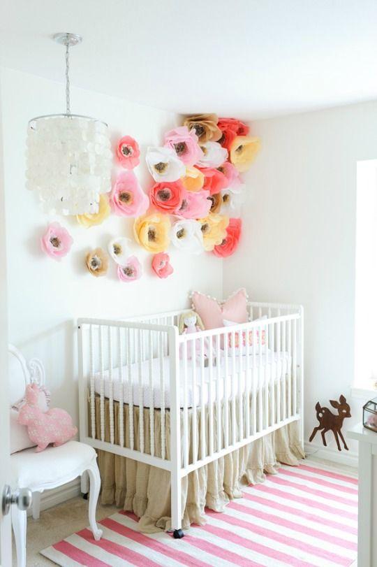 Decorar con pompones | Habitacion bebe niña, Decoracion bebe y ...
