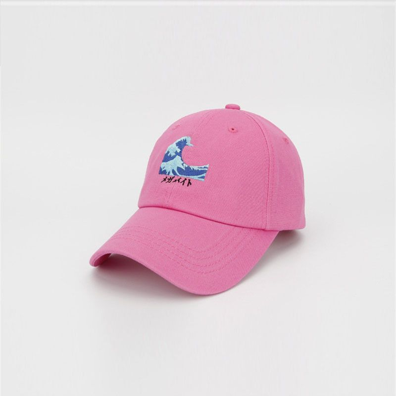4e6ce42cd1e 2016 New Harajuku Men Women Wave Embroidery Snapback Caps Swag Gorras Pink Black  White Dad Hats