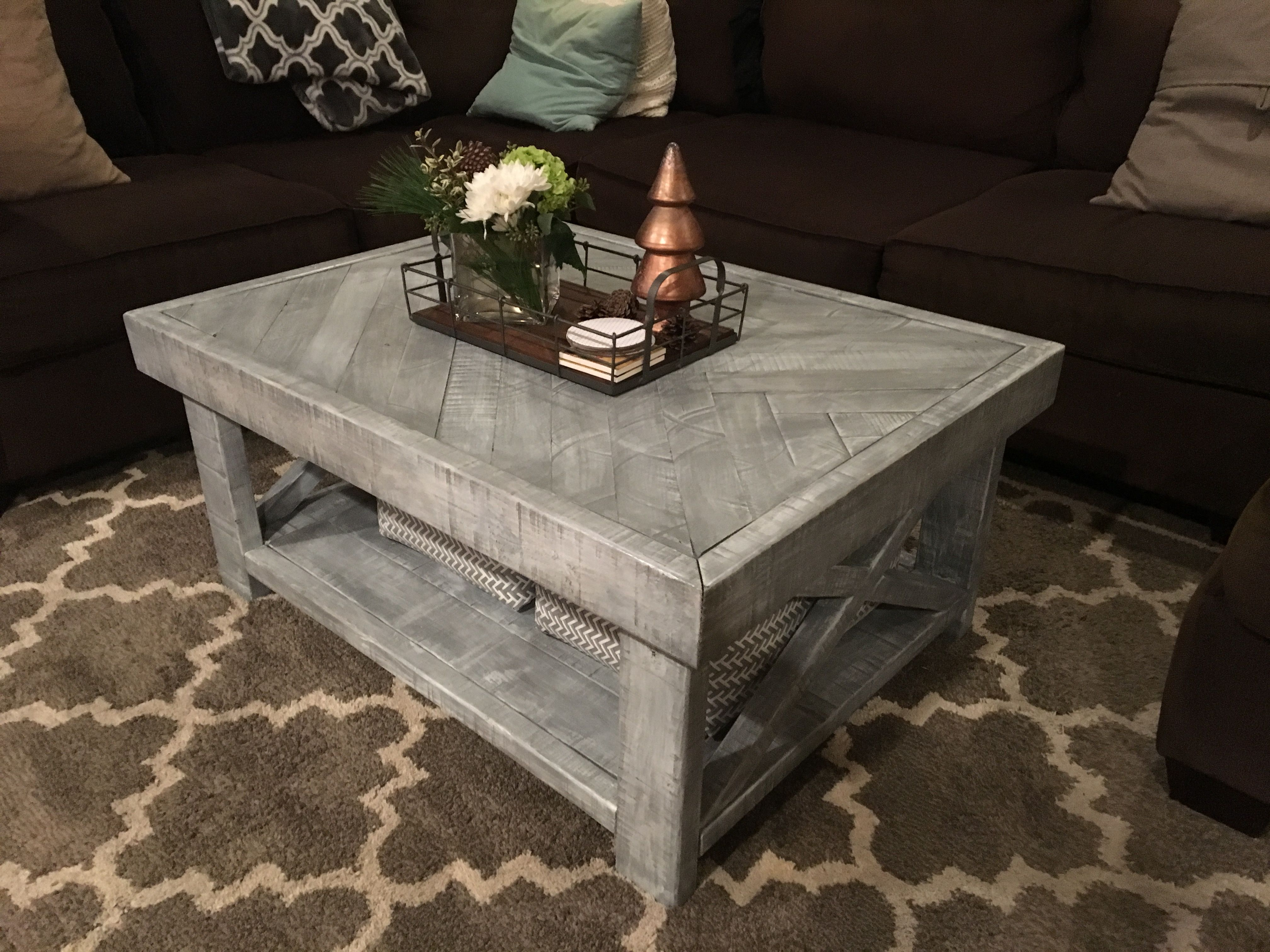 Custom Rustic Farmhouse Coffee Table Weathered Grey Stain