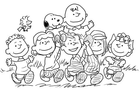 penuts coloring pages | Snoopy with the Peanuts Gang Coloring page | Crafts ...