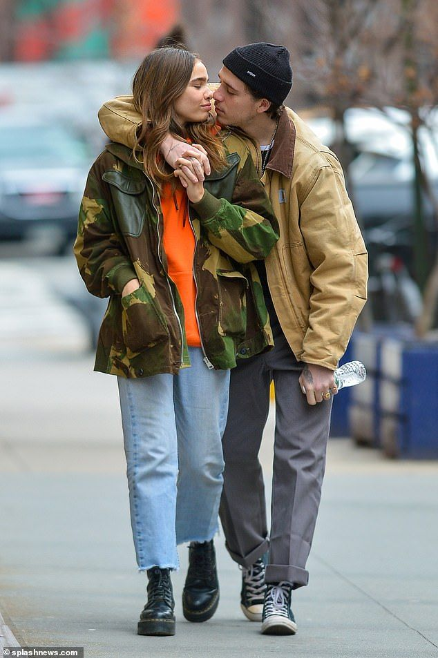 Best Funny Girl Brooklyn Beckham kisses girlfriend Hana Cross on New York stroll Loved-up: Brooklyn Beckham looked utterly besotted with his new girlfriend Hana Cross during a stroll around New York on Saturday 5