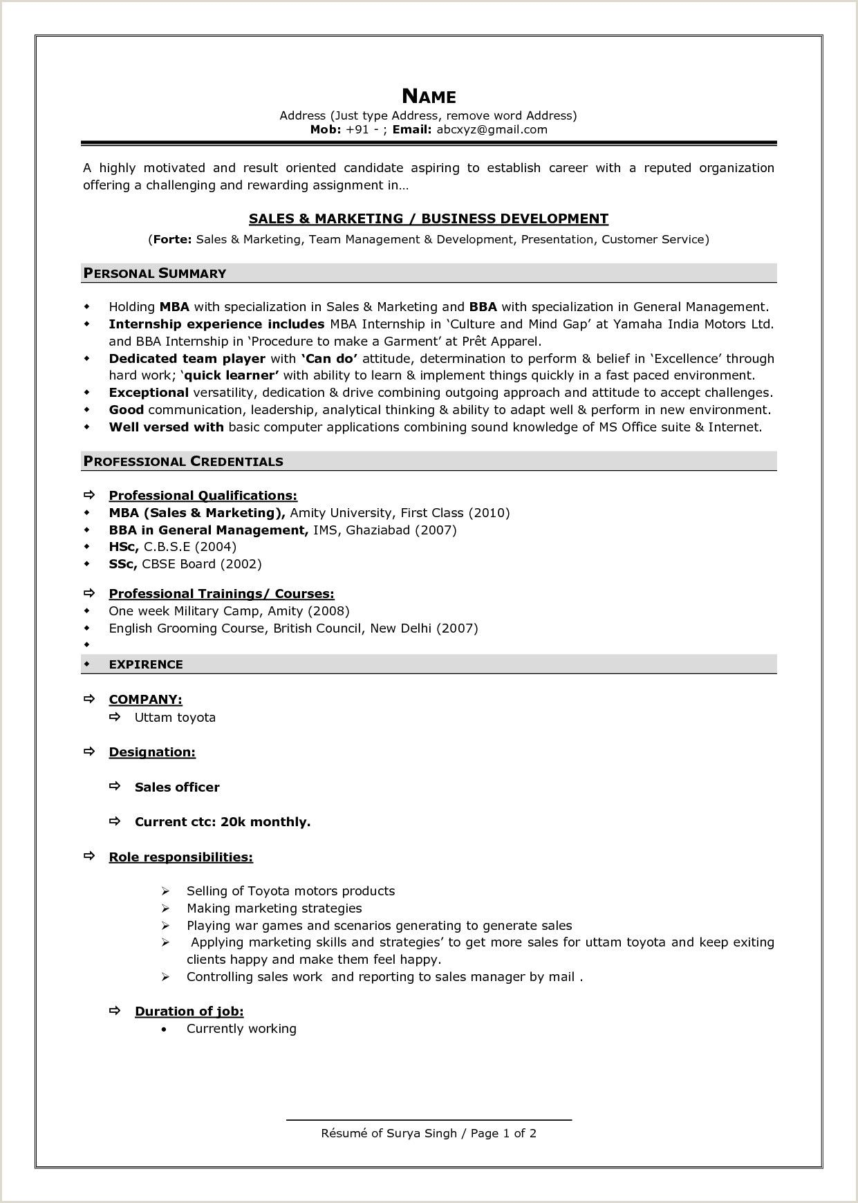 Bba Fresher Resume format Doc in 2020 Best resume format