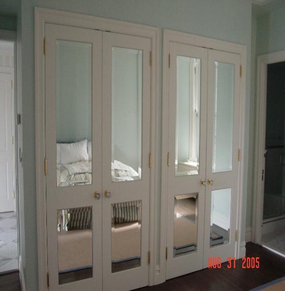 Mirror In Front Of Bedroom Door: Custom Beveled Mirror Door Inserts