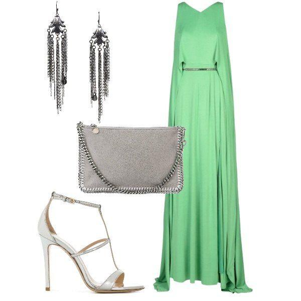 507772d8c46d Abito lungo e verde  outfit donna Chic per cerimonia