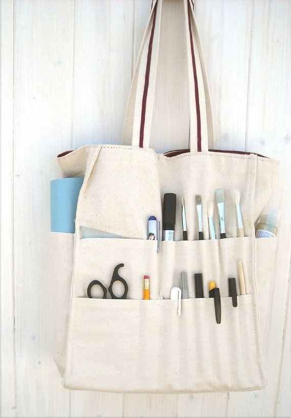 Frida Kahlo, artist bag, organized tote, multi pocket, crafter bag ...