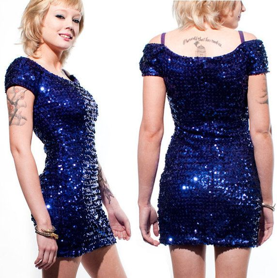 80's Blue Sequin Off the Shoulder Mini Dress by rumors on