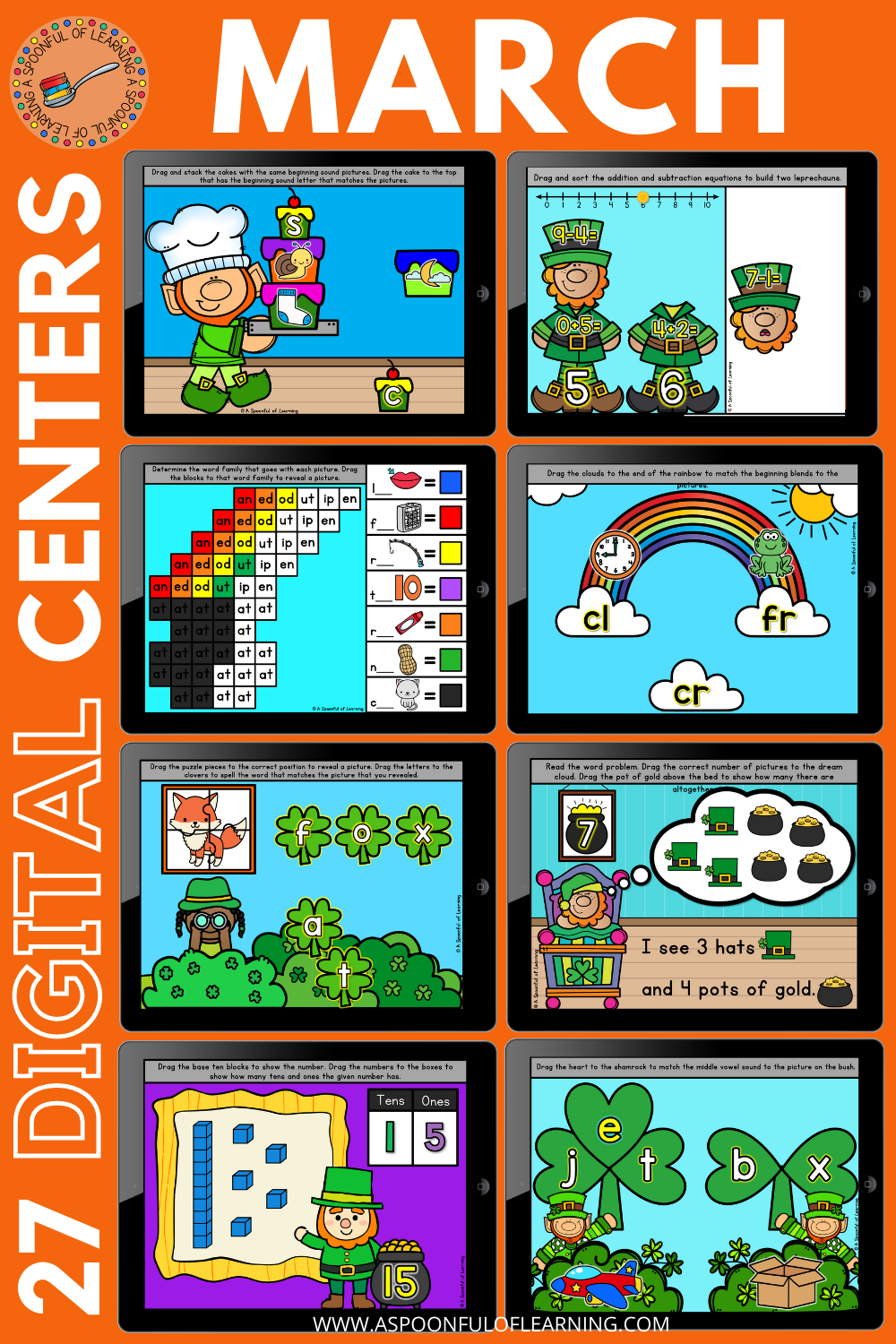 March Digital Math and Literacy Centers for Kindergarten