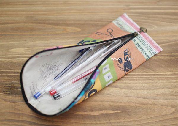 ☆個性簡約的拉鏈筆袋製作教程☆長款拼布錢包製作教程