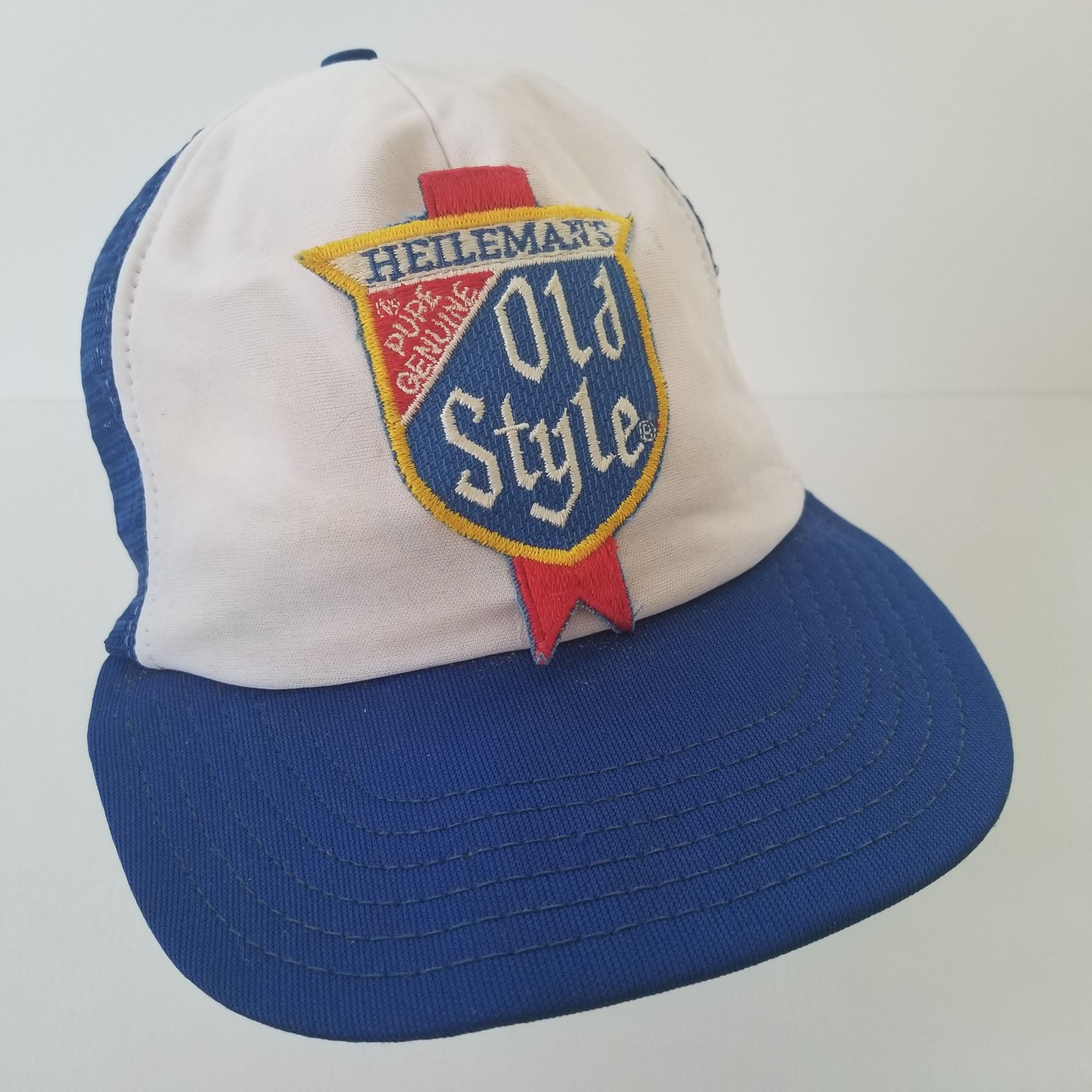 06a1c8b5eb4f1 Vintage Heilemans Old Style Beer Patch Mesh Snapback Hat Cap Trucker Made  in USA Blue White