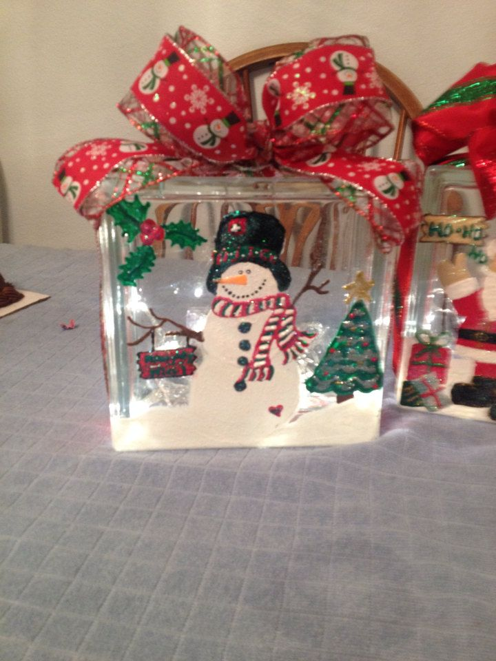 Christmas Snowman glass block light by preciousideas2 on Etsy
