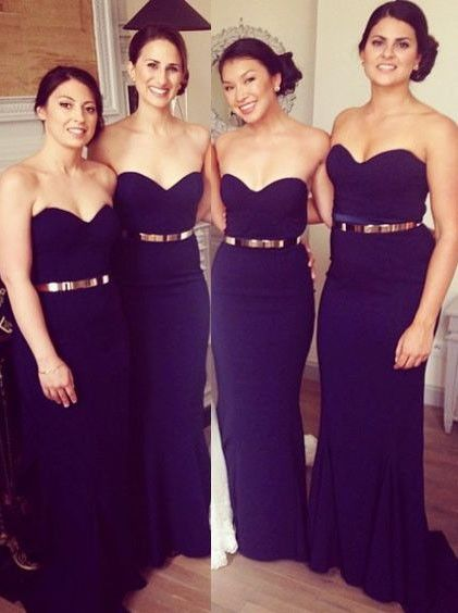 6bc3138cf9 Buy Long Dark Blue Prom Dress - Mermaid Strapless with Gold Belt Bridesmaid  Dresses under US$ 109.99 only in SimpleDress.