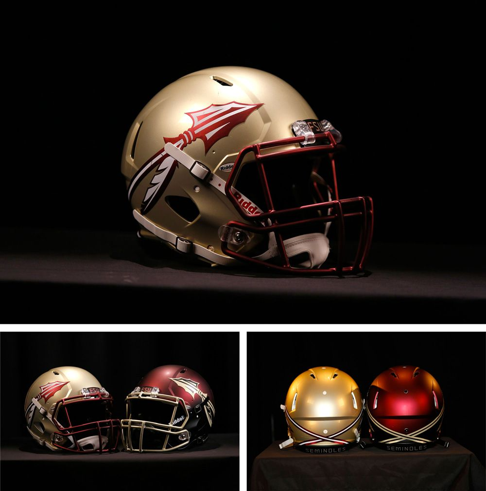 New Logo Helmets And Uniforms For Fsu This Season Still On The Fence About This One Personally I Do Seminole Football Helmets Florida State Football